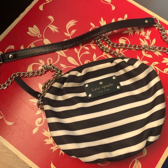 Kate Spade Black & White Stripe Crossbody Bag